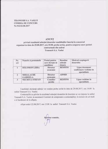 Selectie dosar concurs director economic si consilier juridic